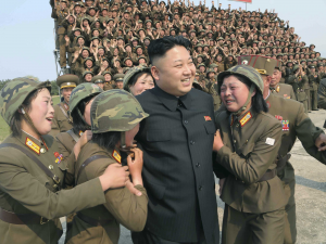 Adoring female soldiers with Kim Jong-Un, leader of North Korea